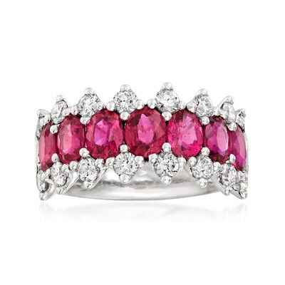 C. 1990 Vintage 3.04 ct. t.w. Ruby and .88 ct. t.w. Diamond Ring in Platinum