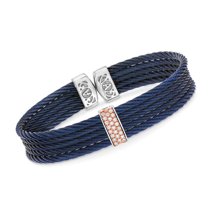 "ALOR ""Classique"" Blue Stainless Steel Cable Cuff Bracelet with .19 ct. t.w. Diamonds and 18kt Rose Gold. 7"", , default"