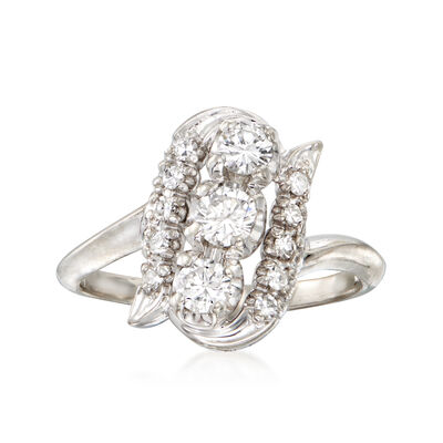 C. 1970 Vintage .70 ct. t.w. Diamond Cocktail Ring in 14kt White Gold