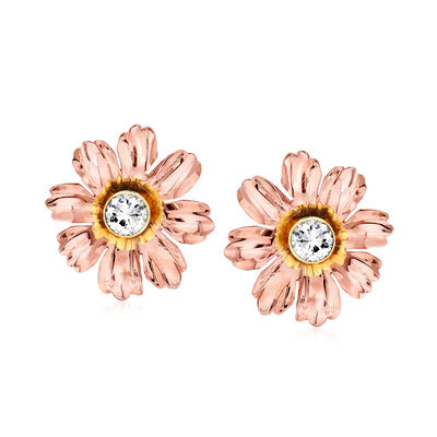 C. 1960 Vintage .77 ct. t.w. Diamond Flower Earrings in 14kt Two-Tone Gold, , default