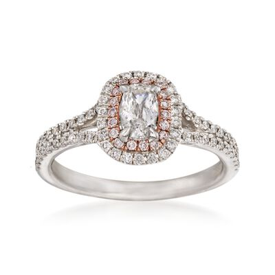 Henri Daussi .86 ct. t.w. White and Pink Diamond Engagement Ring in 14kt White Gold, , default