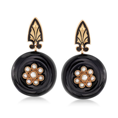 C. 1940 Vintage Black Onyx and Cultured Pearl Earrings in 14kt Yellow Gold, , default