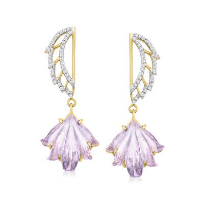 C. 2000 Vintage 9.00 ct. t.w. Amethyst and .40 ct. t.w. Diamond Drop Earrings in 14kt Yellow Gold