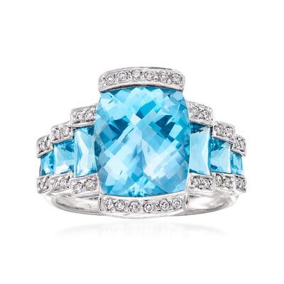 C. 1990 Vintage 10.05 Carat London Blue Topaz and .30 ct. t.w. Diamond Step Ring in 18kt White Gold