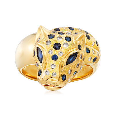 C. 1980 Vintage .90 ct. t.w. Sapphire and .34 ct. t.w. Diamond Panther Ring in 18kt Yellow Gold, , default