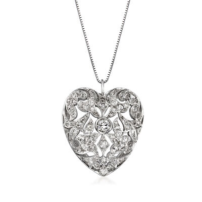 C. 1950 Vintage 2.20 ct. t.w. Diamond Heart Pendant Necklace in 18kt and 14kt White Gold, , default