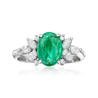 C. 1980 Vintage 1.89 Carat Emerald and .47 ct. t.w. Diamond Ring in Platinum, , default