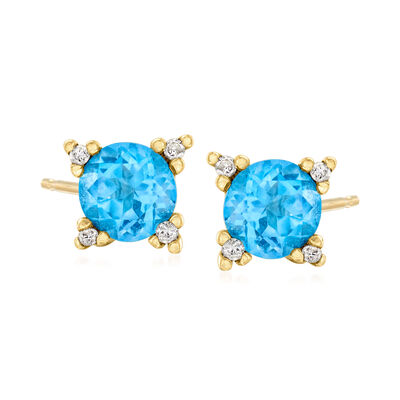 C. 1990 Vintage 1.60 ct. t.w. Sky Blue Topaz and .10 ct. t.w. Diamond Earrings in 14kt Yellow Gold