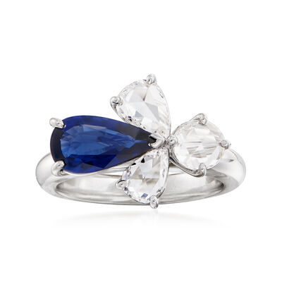 C. 1990 Vintage 1.55 Carat Sapphire and 1.22 ct. t.w. Diamond Ring in 18kt White Gold, , default