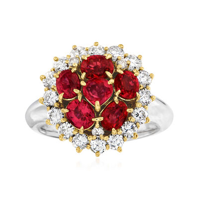 C. 2000 Vintage 2.45 ct. t.w. Ruby and 1.15 ct. t.w. Diamond Cluster Ring in Platinum and 18kt Yellow Gold