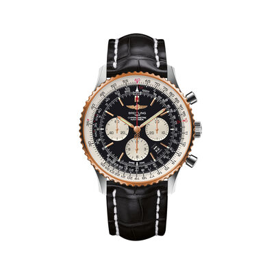 Breitling Navitimer 01 Men's 46mm Stainless Steel and 18kt Rose Gold Watch with Black Leather Strap, , default