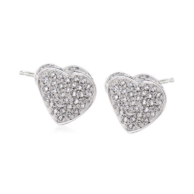 C. 1980 Vintage .90 ct. t.w. Diamond Heart Earrings in 18kt White Gold