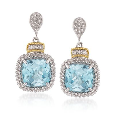 "Phillip Gavriel ""Popcorn"" 7.00 ct. t.w. Blue Topaz and .16 ct. t.w. Diamond Drop Earrings in Sterling Silver and 18kt Gold"