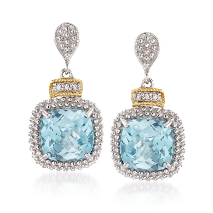 "Phillip Gavriel ""Popcorn"" 7.00 ct. t.w. Blue Topaz and .16 ct. t.w. Diamond Drop Earrings in Sterling Silver and 18kt Gold , , default"