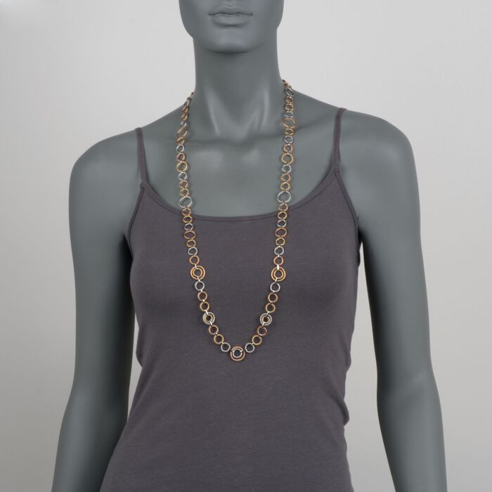 """ALOR Noir Tri-Tone Cable Link Necklace in Stainless Steel with 18-Karat Yellow Gold. 36"""", , default"""
