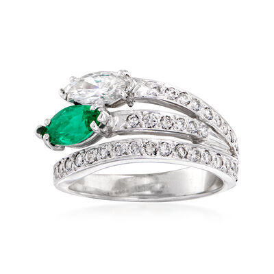 C. 1980 Vintage 1.00 ct. t.w. Diamond and .65 Carat Emerald Wrap Ring in 14kt White Gold