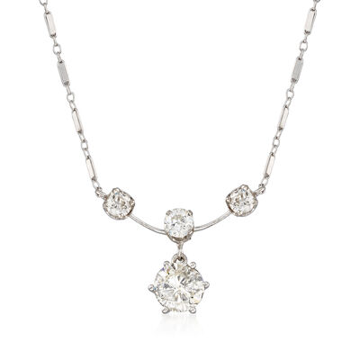 C. 1950 Vintage 3.05 ct. t.w. Diamond Drop Necklace in 14kt White Gold, , default