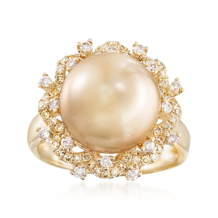 12-12.5mm Golden Cultured South Sea Pearl and Yellow and White Diamond Ring in 18kt Yellow Gold, , default