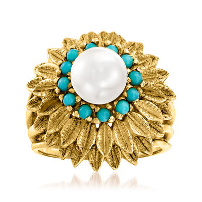 C. 1970 Vintage 7mm Cultured Pearl and 2mm Blue Chalcedony Flower Ring in 14kt Yellow Gold