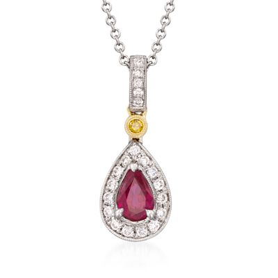 Simon G. .50 Carat Ruby and .16 ct. t.w. Yellow and White Diamond Pendant Necklace in 18kt Two-Tone Gold, , default