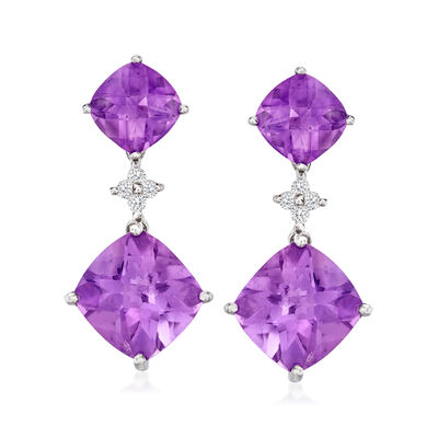 14.50 ct. t.w. Amethyst and .20 ct. t.w. Diamond Drop Earrings in 14kt White Gold