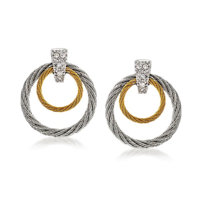 "ALOR ""Classique"" Two-Tone Double Hoop Stainless Steel Cable Earrings with Diamond Accents and 18kt White Gold, , default"