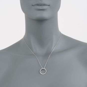 Roberto Coin .26 Carat Total Weight Diamond Open Circle Necklace in 18-Karat White Gold, , default