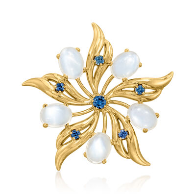 C. 1970 Vintage Moonstone and .40 ct. t.w. Sapphire Flower Pin in 14kt Yellow Gold