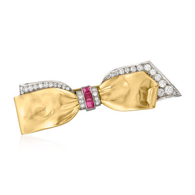 C. 1950 Vintage .30 ct. t.w. Synthetic Ruby and .75 ct. t.w. Diamond Bow Pin in Platinum and 14kt Yellow Gold