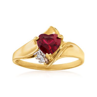 C. 1980 Vintage Synthetic Ruby Heart Ring with Diamond Accents in 10kt Yellow Gold