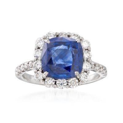 C. 1990 Vintage 2.90 Carat Sapphire and .95 ct. t.w. Diamond Ring in 18kt White Gold, , default