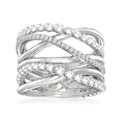 Gabriel Designs .10 ct. t.w. White Sapphire Highway Ring in Sterling Silver