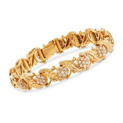 C. 1990 Vintage 2.60 ct. t.w. Diamond Leaves Bracelet in 18kt Yellow Gold, , default