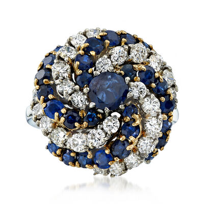 C. 1970 Vintage 3.25 ct. t.w. Sapphire and 1.70 ct. t.w. Diamond Swirl Ring in 14kt Two-Tone Gold, , default
