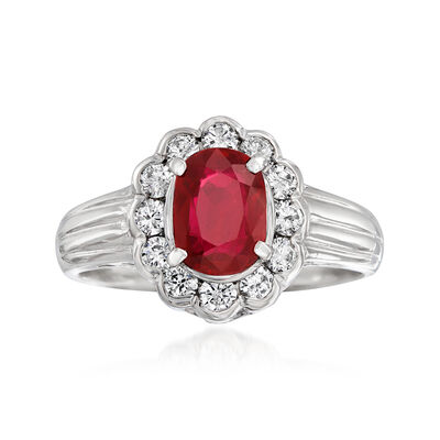 C. 2000 Vintage 1.15 Carat Ruby and .38 ct. t.w. Diamond Ring in Platinum