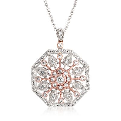 .51 ct. t.w. Diamond Sunburst Pendant Necklace in 18kt Two-Tone Gold