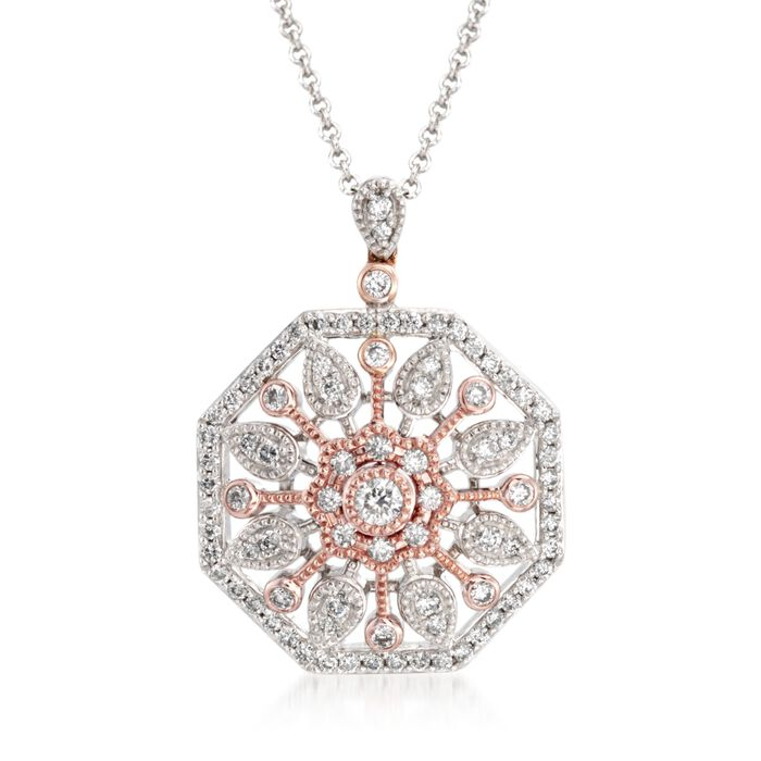 "Simon G. .51 Carat Total Weight Diamond Pendant Necklace in 18-Karat Two-Tone Gold. 18"", , default"