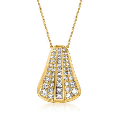 C. 1990 Vintage 4.75 ct. t.w. Diamond Necklace in 14kt Yellow Gold