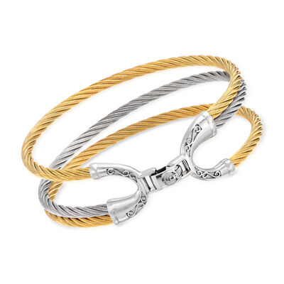 "ALOR ""Noir"" Two-Tone Stainless Steel Cable Bracelet"