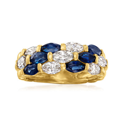 C. 1980 Vintage 1.22 ct. t.w. Sapphire and 1.02 ct. t.w. Diamond Ring in 18kt Yellow Gold
