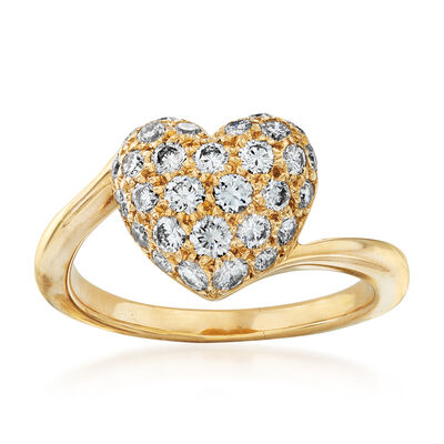 C. 1980 Vintage Cartier .50 ct. t.w. Pave Diamond Heart Ring in 18kt Yellow Gold, , default