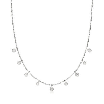C. 2000 Vintage .37 ct. t.w. Diamond Station Necklace in 14kt White Gold