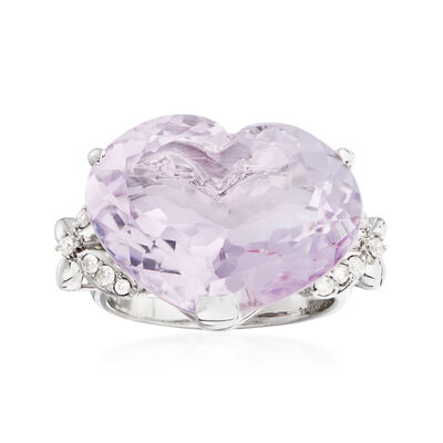 C. 1990 Vintage 15.23 Carat Amethyst and .18 ct. t.w. Diamond Heart Ring in 18kt White Gold