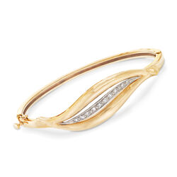 C. 1990 Vintage .25 ct. t.w. Diamond and 14kt Yellow Gold Open-Space Leaf Bangle Bracelet, , default
