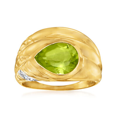 C. 1980 Vintage 2.50 Carat Peridot Ring with CZ Accents in 14kt Yellow Gold