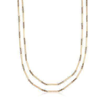 C. 1940 Vintage 14kt Yellow Gold Bar Chain, , default
