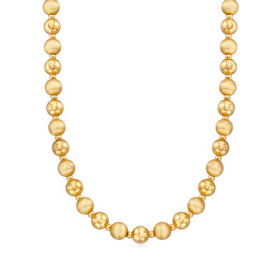 C. 1980 Vintage 14kt Yellow Gold Beaded Necklace, , default