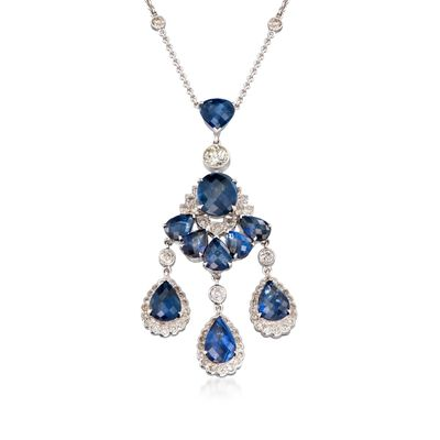 C. 2000 Vintage 9.40 ct. t.w. Sapphire and 2.00 ct. t.w. Diamond Chandelier Necklace in 18kt White Gold, , default