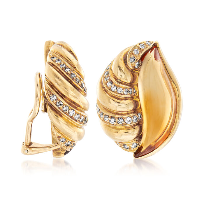 C. 1980 Vintage Citrine and .80 ct. t.w. Diamond Shell Earrings in 18kt Yellow Gold