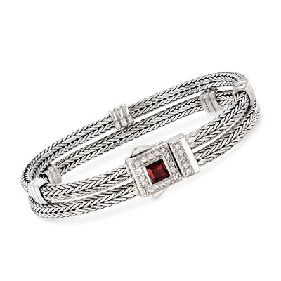 "Phillip Gavriel ""Woven"" .85 Carat Garnet and .48 ct. t.w. White Sapphire Double Row Station Bracelet in Sterling Silver"